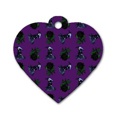 Gothic Girl Rose Purple Pattern Dog Tag Heart (two Sides) by snowwhitegirl