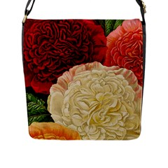 Vintage Carnation Flowers Flap Closure Messenger Bag (l)