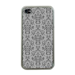 Victorian Paisley Grey Apple Iphone 4 Case (clear) by snowwhitegirl