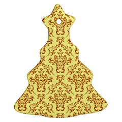Victorian Paisley Yellow Christmas Tree Ornament (two Sides)