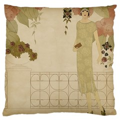 Flapper Lady Vintage Large Cushion Case (one Side)