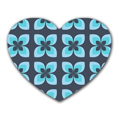 Retro Flower Blue Heart Mousepads