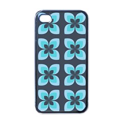 Retro Flower Blue Apple Iphone 4 Case (black) by snowwhitegirl