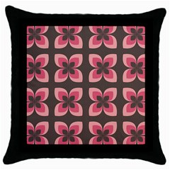 Retro Flower Pink Brown Throw Pillow Case (black)