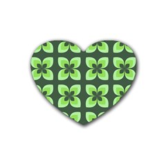 Retro Flower Green Rubber Coaster (heart)