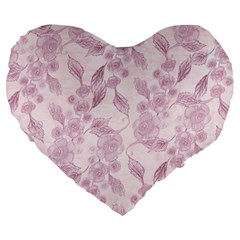 Pink Floral Large 19  Premium Flano Heart Shape Cushions