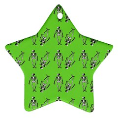 Skeleton Green Star Ornament (two Sides)