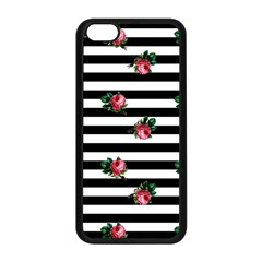 Black Stripes Roses Apple Iphone 5c Seamless Case (black)