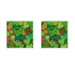 Shamrock Four Leaf Clover Cufflinks (square)