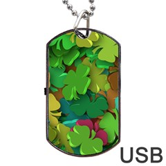 Shamrock Four Leaf Clover Dog Tag Usb Flash (one Side)