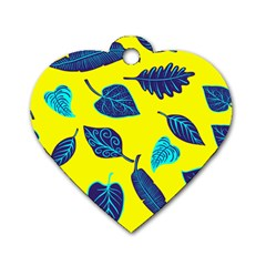 Leaves Leaf Dog Tag Heart (two Sides)