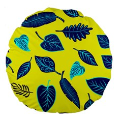 Leaves Leaf Large 18  Premium Flano Round Cushions