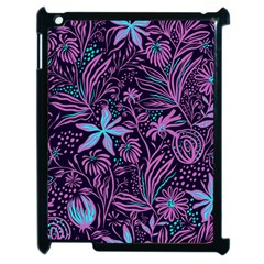 Stamping Pattern Leaves Purple Apple Ipad 2 Case (black)