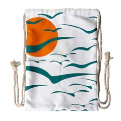 Sunset Glow Sun Birds Flying Drawstring Bag (large)