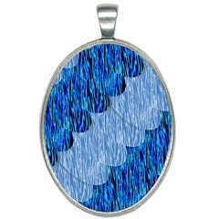 Texture Surface Blue Shapes Oval Necklace