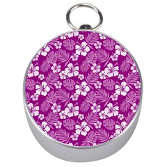 Colorful Tropical Hibiscus Pattern Silver Compasses by tarastyle