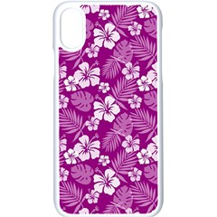 Colorful Tropical Hibiscus Pattern Apple Iphone Xs Seamless Case (white)