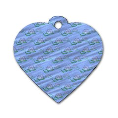Waterlily Lotus Flower Pattern Lily Dog Tag Heart (one Side)