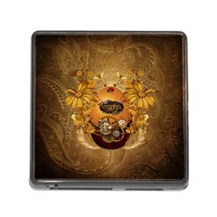 Awesome Steampunk Easter Egg With Flowers, Clocks And Gears Memory Card Reader (square 5 Slot)