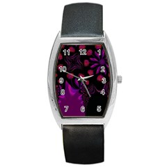 Background Red Purple Black Color Barrel Style Metal Watch