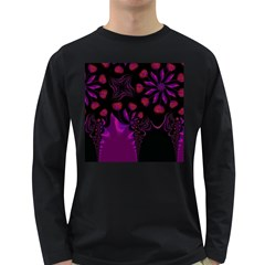 Background Red Purple Black Color Long Sleeve Dark T Shirt