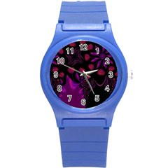 Background Red Purple Black Color Round Plastic Sport Watch (s)