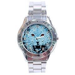 Animals Leopard Fractal Photoshop Stainless Steel Analogue Watch