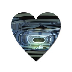 Spaceship Interior Stage Design Heart Magnet by Pakrebo