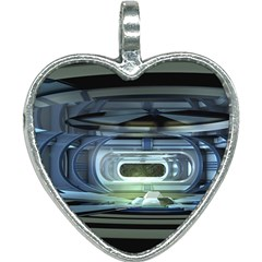 Spaceship Interior Stage Design Heart Necklace by Pakrebo