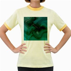 Abstract Graphics Water Web Layout Women s Fitted Ringer T Shirt