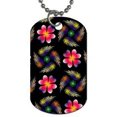 Pattern Flowers Wallpaper Dog Tag (one Side)