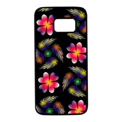 Pattern Flowers Wallpaper Samsung Galaxy S7 Black Seamless Case