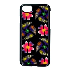 Pattern Flowers Wallpaper Apple Iphone 7 Seamless Case (black)