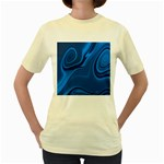 Rendering Streak Wave Background Women s Yellow T-Shirt Front