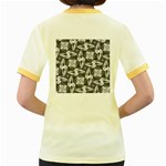 Ornament Pattern Background Women s Fitted Ringer T-Shirt Back