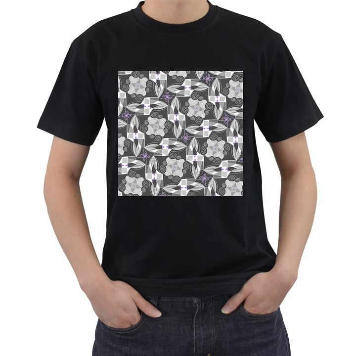 Ornament Pattern Background Men s T-Shirt (Black) (Two Sided)