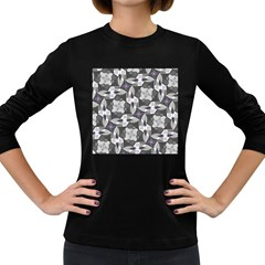 Ornament Pattern Background Women s Long Sleeve Dark T Shirt
