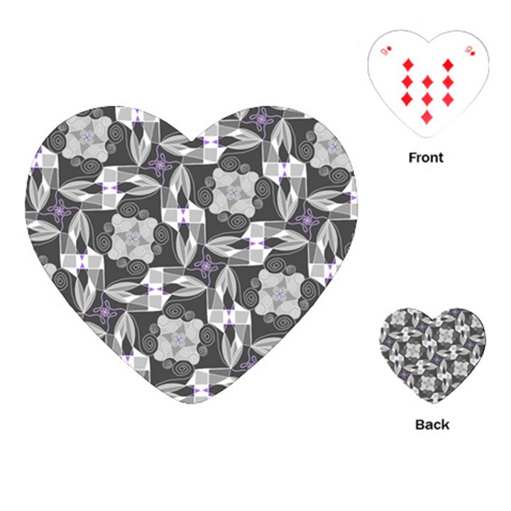 Ornament Pattern Background Playing Cards (Heart)