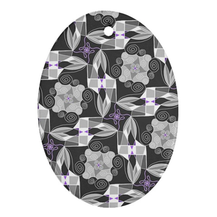 Ornament Pattern Background Oval Ornament (Two Sides)