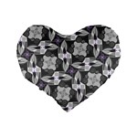 Ornament Pattern Background Standard 16  Premium Heart Shape Cushions Back