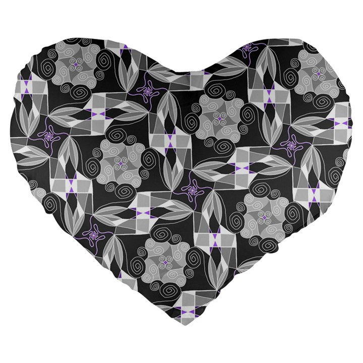 Ornament Pattern Background Large 19  Premium Heart Shape Cushions