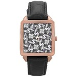 Ornament Pattern Background Rose Gold Leather Watch  Front