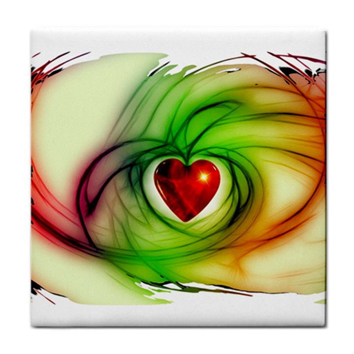 Heart Love Luck Abstract Tile Coasters