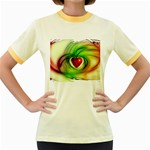 Heart Love Luck Abstract Women s Fitted Ringer T-Shirt Front