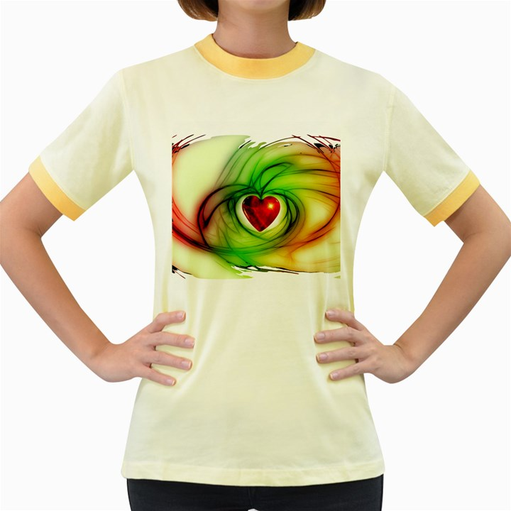 Heart Love Luck Abstract Women s Fitted Ringer T-Shirt