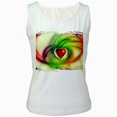 Heart Love Luck Abstract Women s White Tank Top