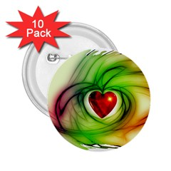 Heart Love Luck Abstract 2 25  Buttons (10 Pack)