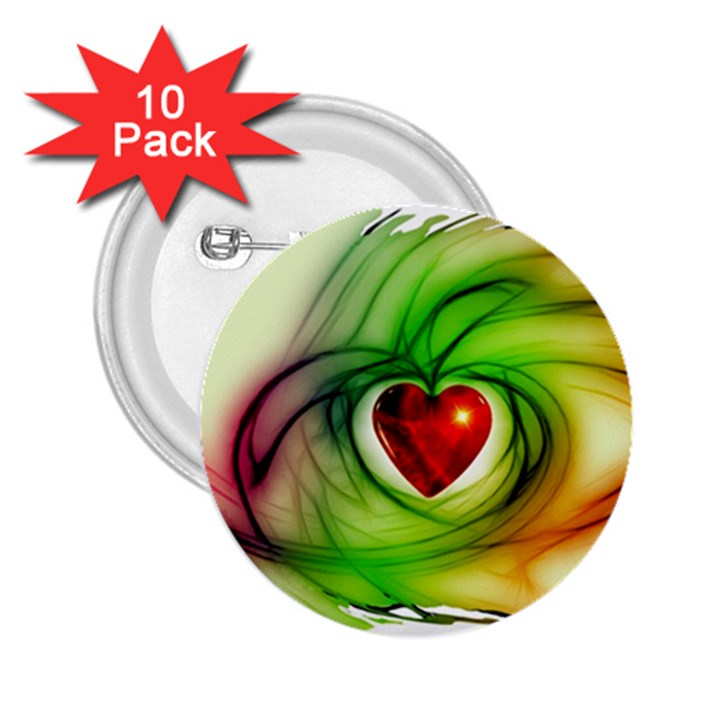 Heart Love Luck Abstract 2.25  Buttons (10 pack)
