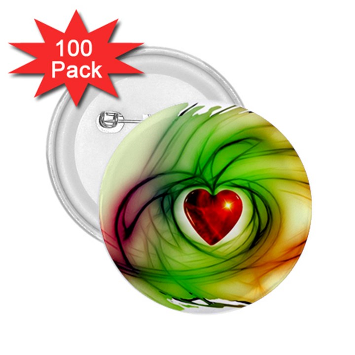 Heart Love Luck Abstract 2.25  Buttons (100 pack)