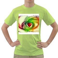 Heart Love Luck Abstract Green T Shirt
